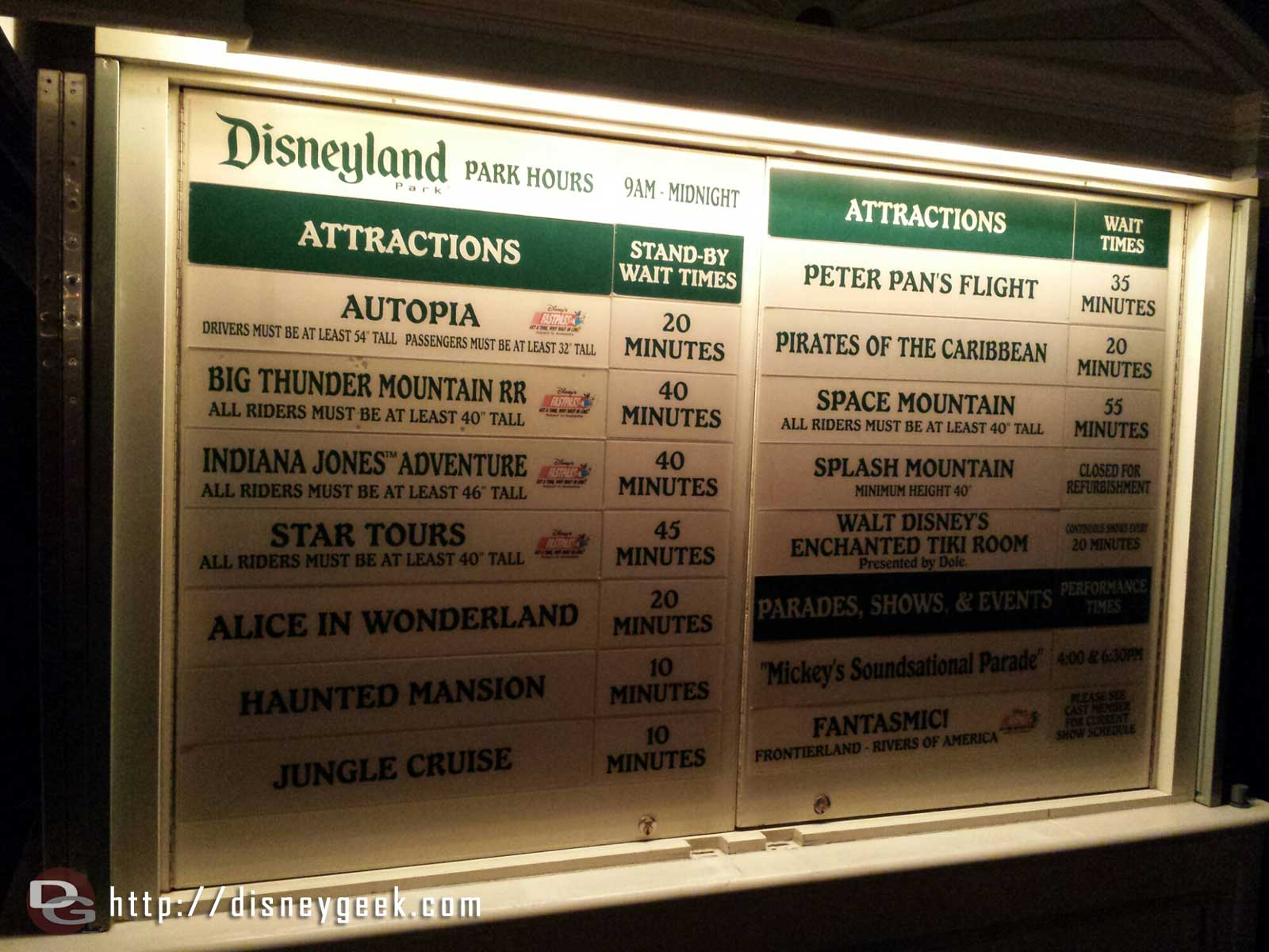 #Disneyland waits as of 9:12pm