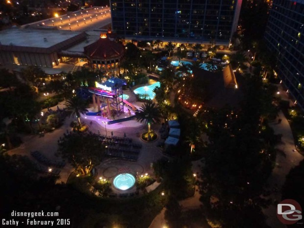 Disneyland Hotel Pool area at night