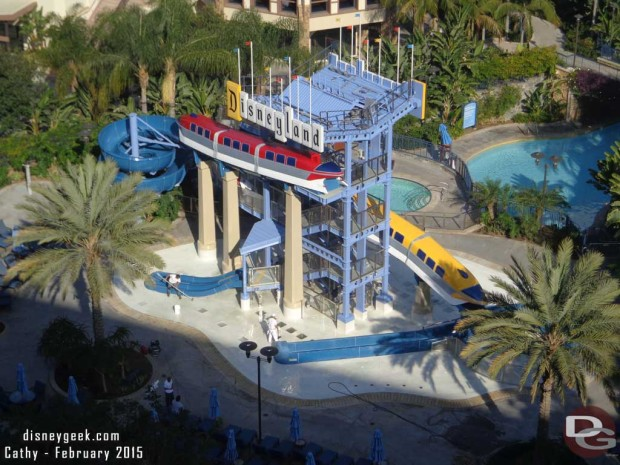 Finishing touching being applied to the Monorail Pool slides at the Disneyland Hotel as they prepare to reopen after a refurbishment