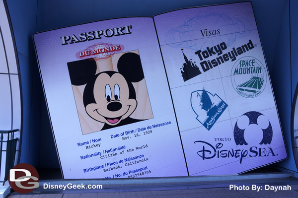 Don't forget your passport! You can see this giant passport is at at end of the Disney Store Tokyo.