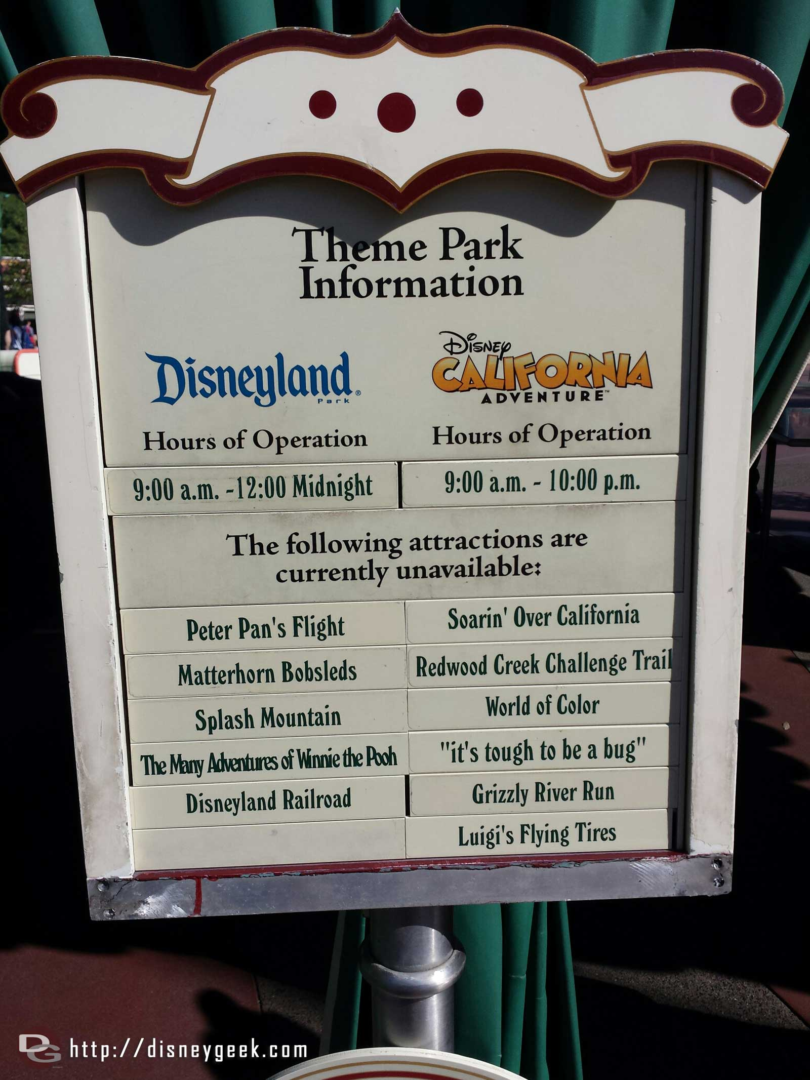 The posted closure list at #Disneyland today