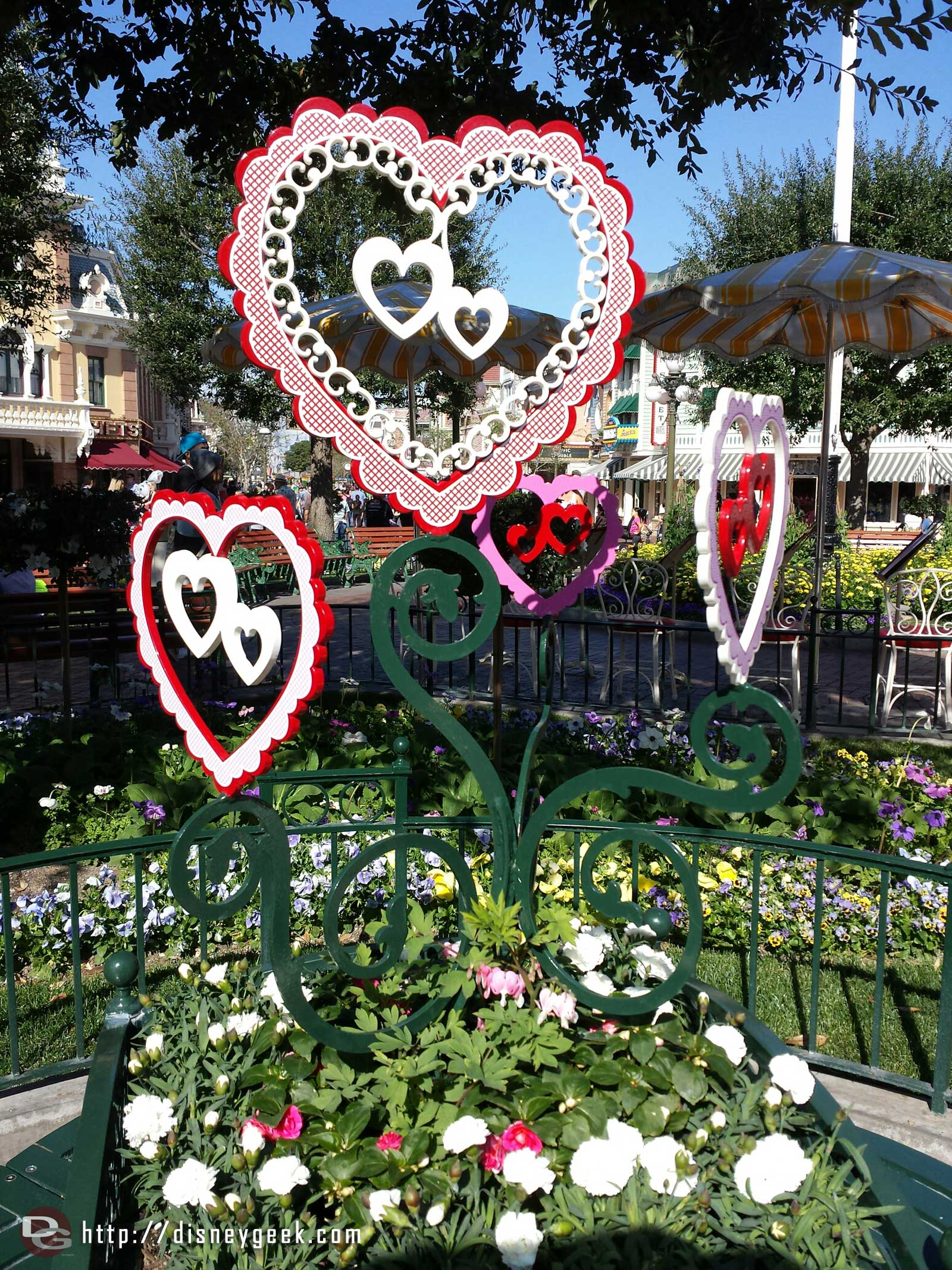 Valentine's day decorations in Town Square #Disneyland