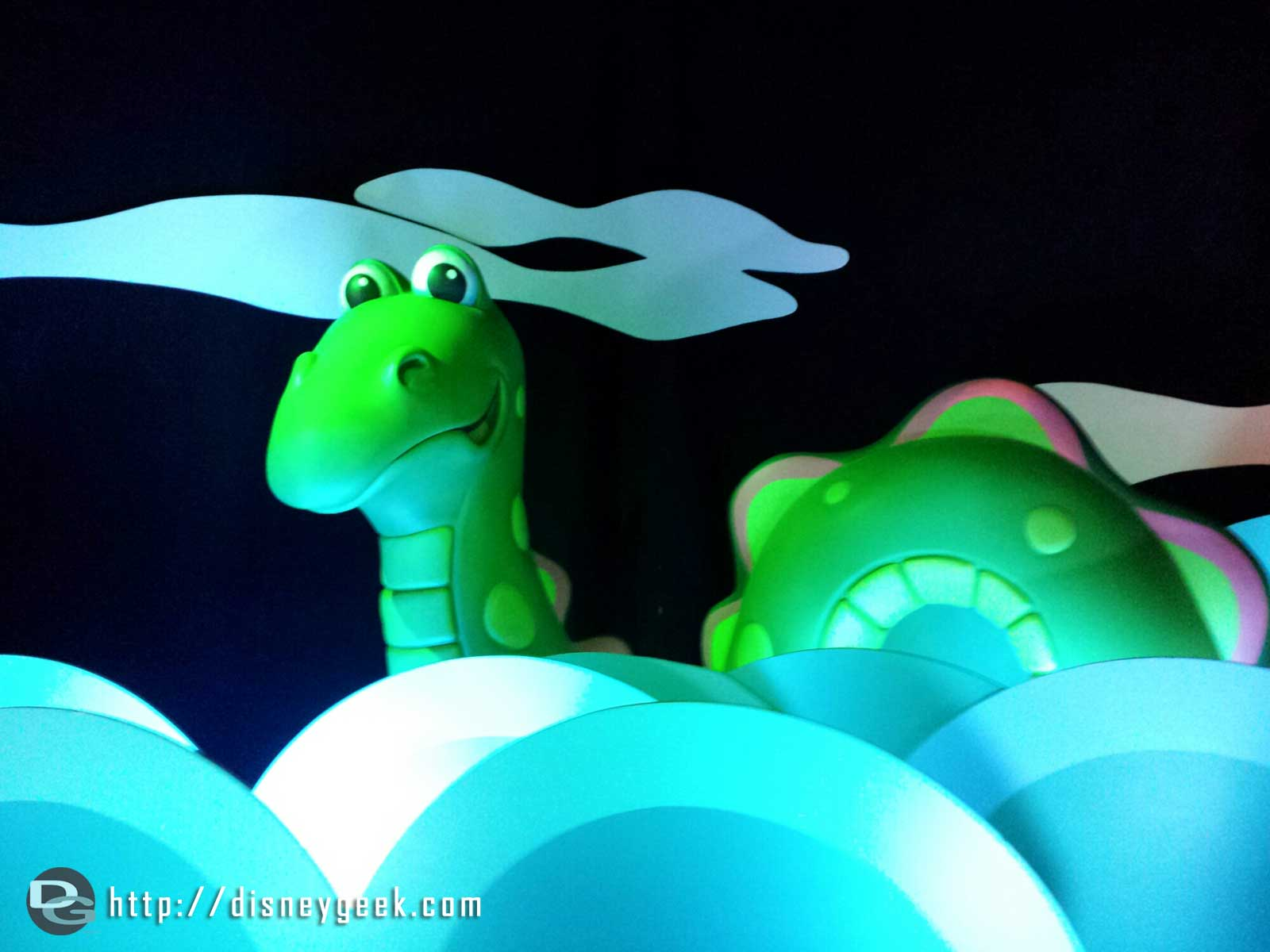 "The sea serpent back in its traditional spot – ""it's a Small World"" #Disneyland"