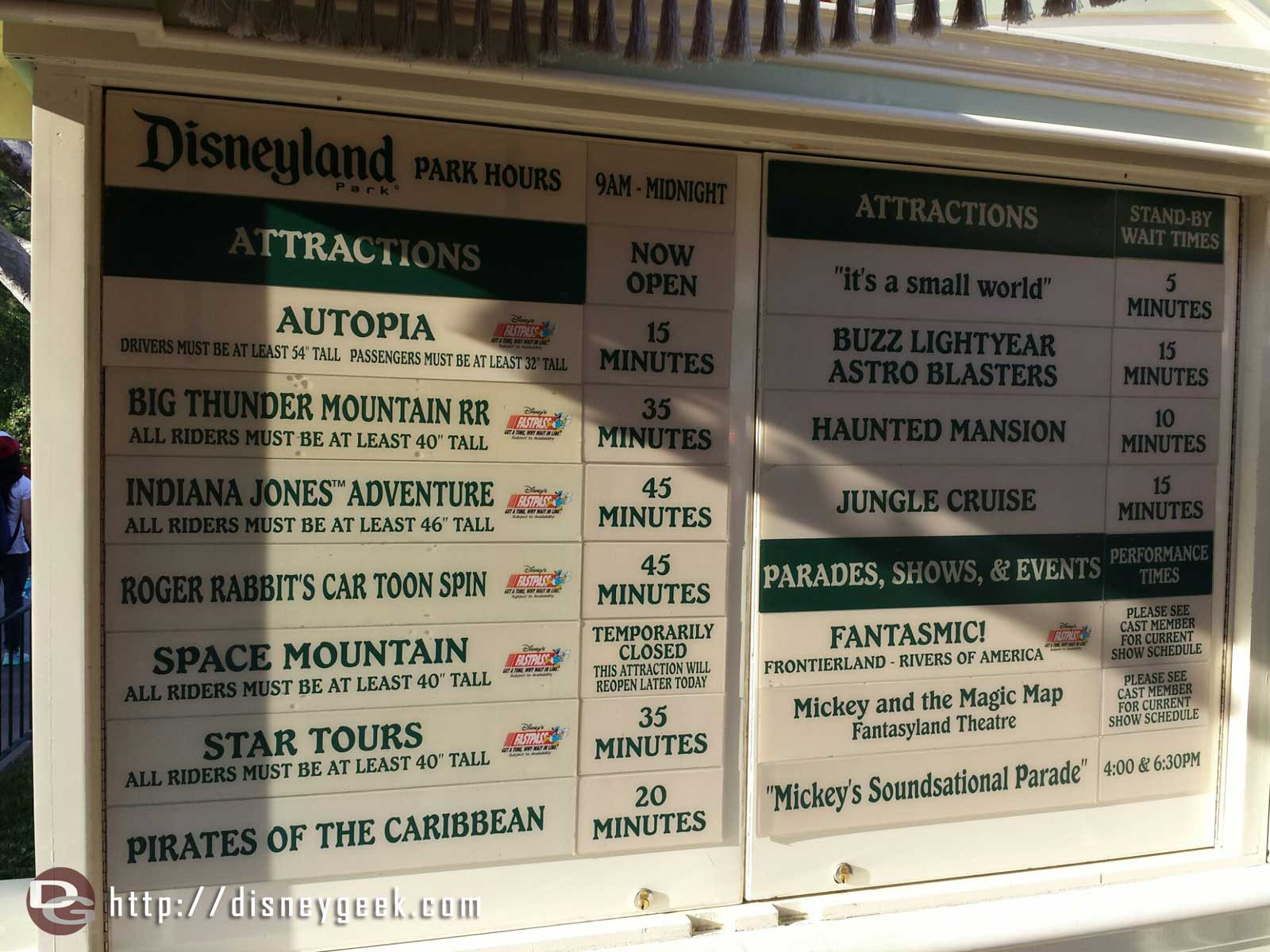 #Disneyland waits as of 3:40pm