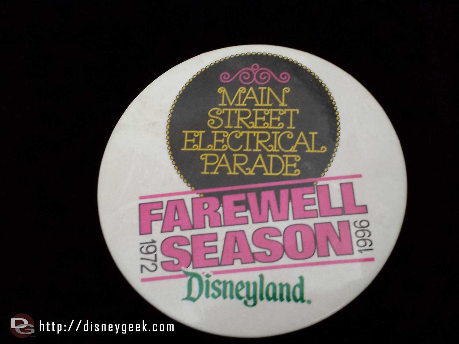 Main Street Electrical Parade farewell season #Disneyland 1996 button