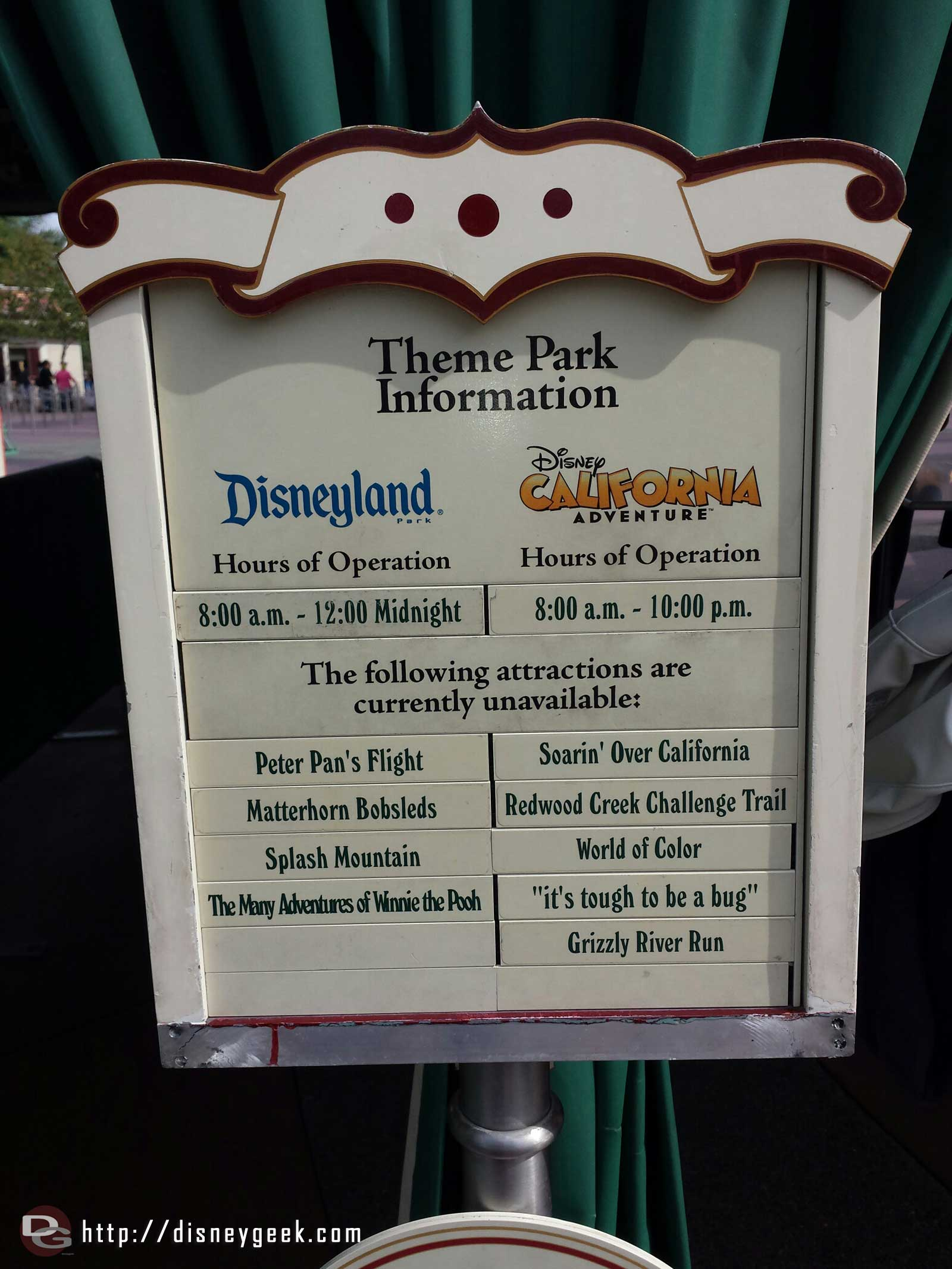 Arriving at the #Disneyland Resort, today's closure listings