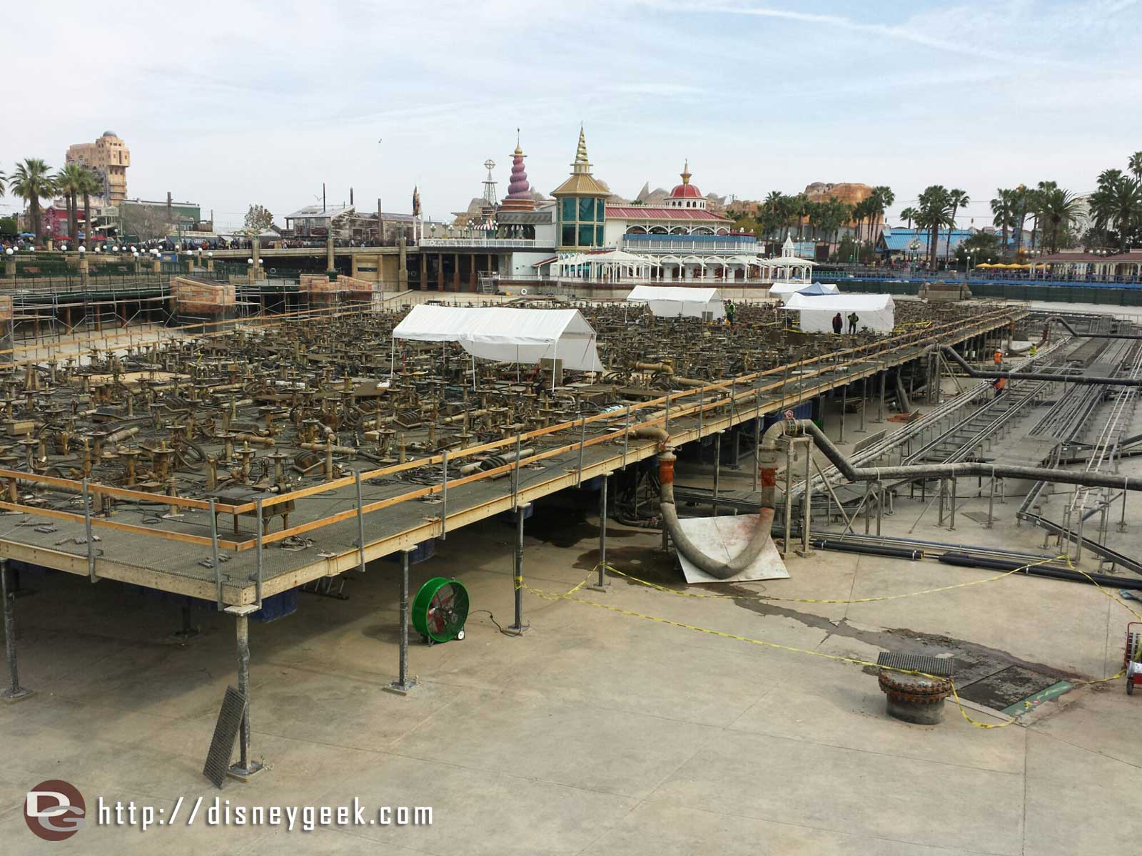 Work continues on the World of Color platforms