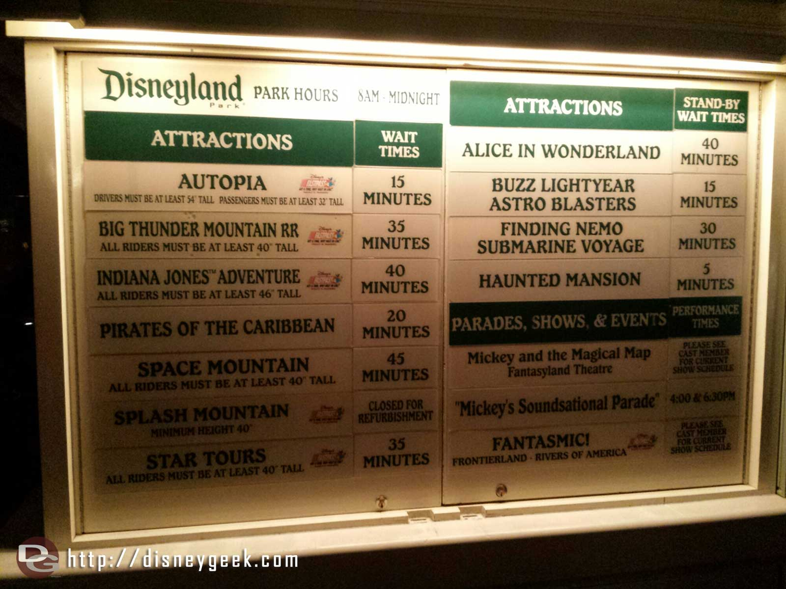#Disneyland waits as of 8:25pm