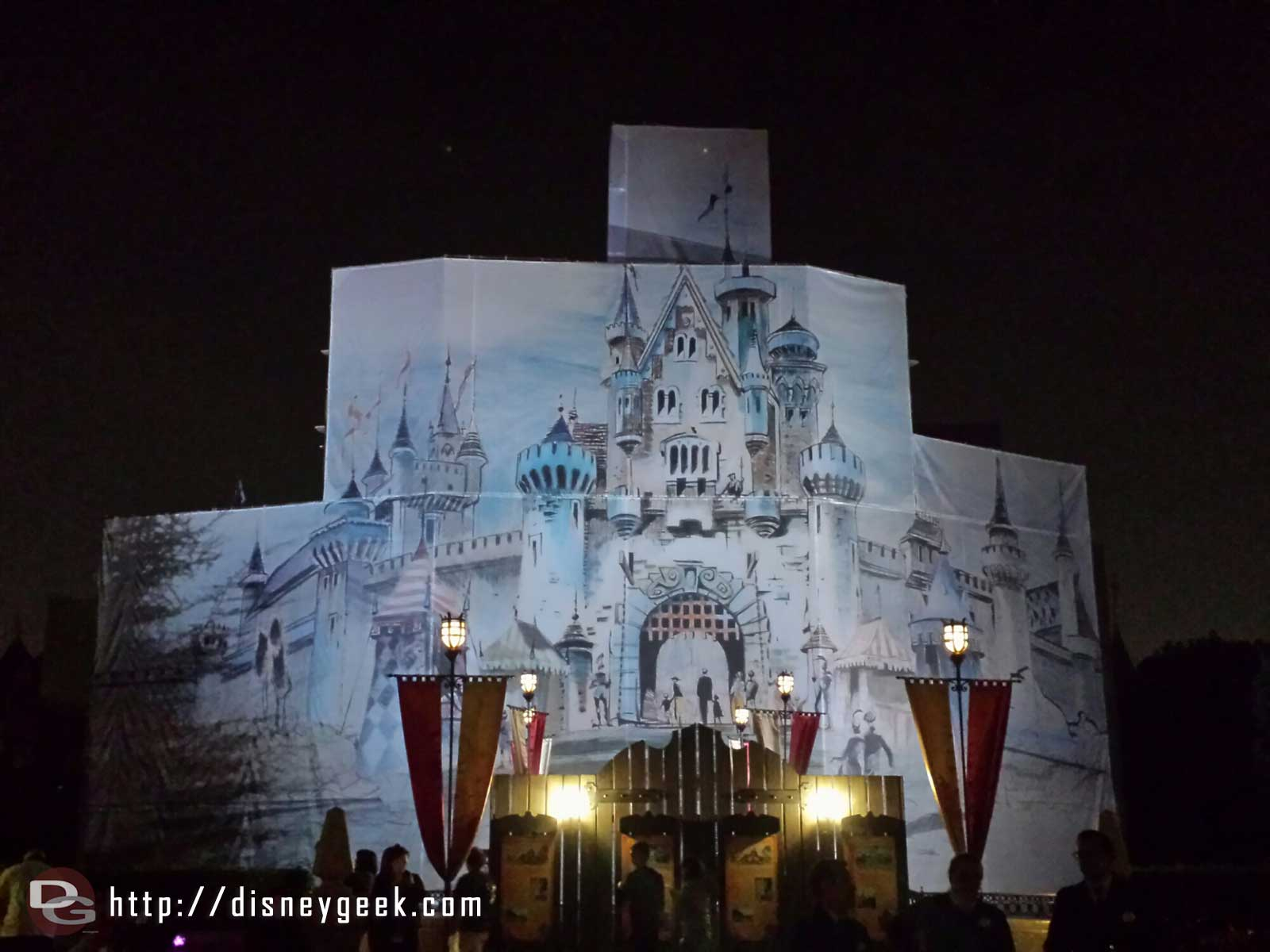 The castle artwork is now lit up at night