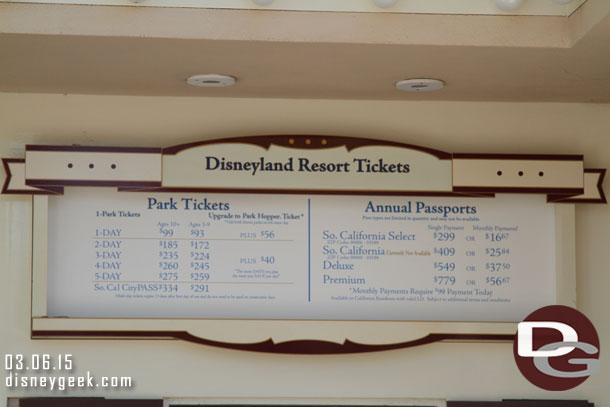 Disneyland Resort ticket prices had gone up since my last visit