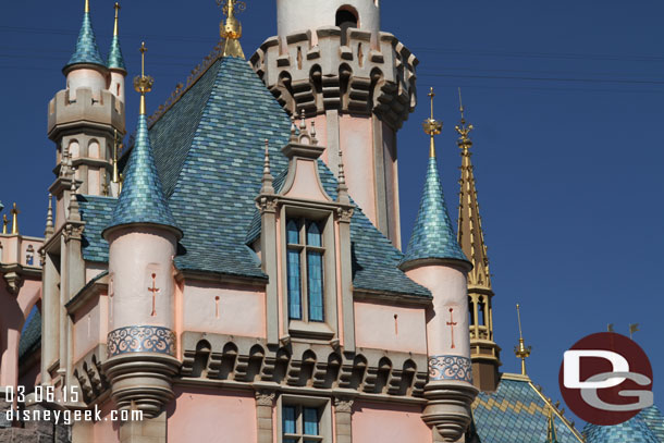 Another close up of Sleeping Beauty Castle and its new color scheme