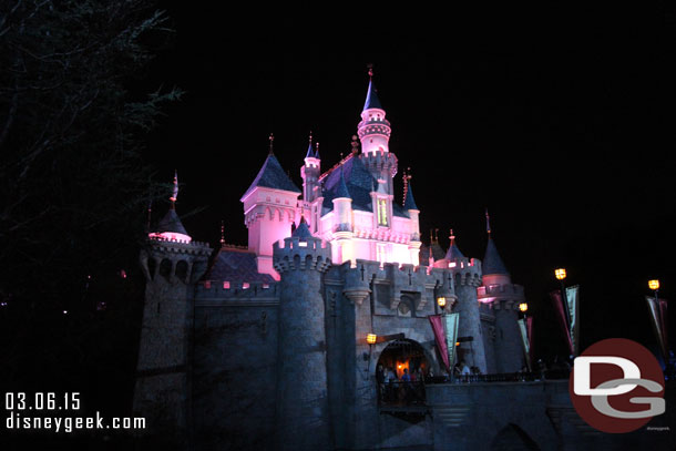 Sleeping Beauty Castle after dark