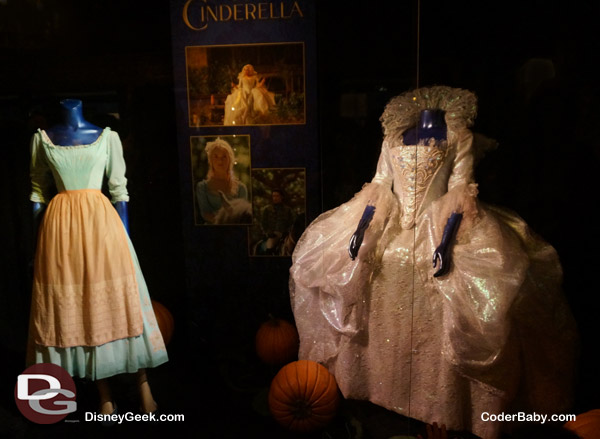 Costumes used in the movie. Left is Cinderella's normal dress and right is her Fairy Godmother's outfit.