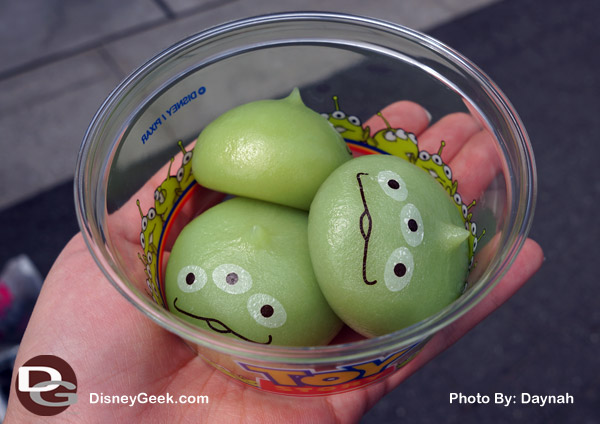 Mochi treats in the shape of Toy Story Aliens at Tokyo DisneySea