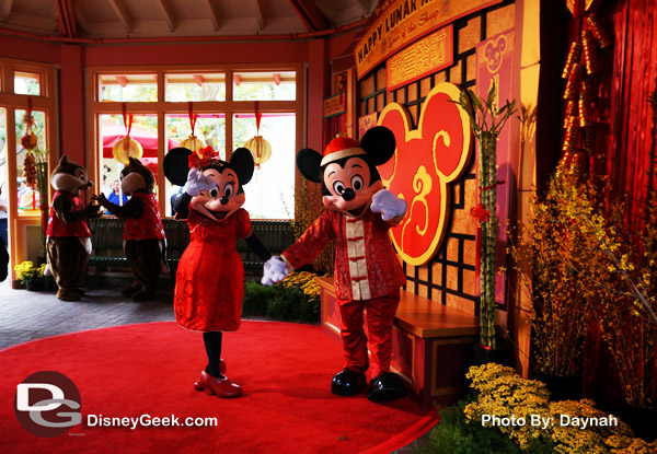 Mickey and Minnie waved to us as we stood in line for the Lunar New Year Character Meet and Greet