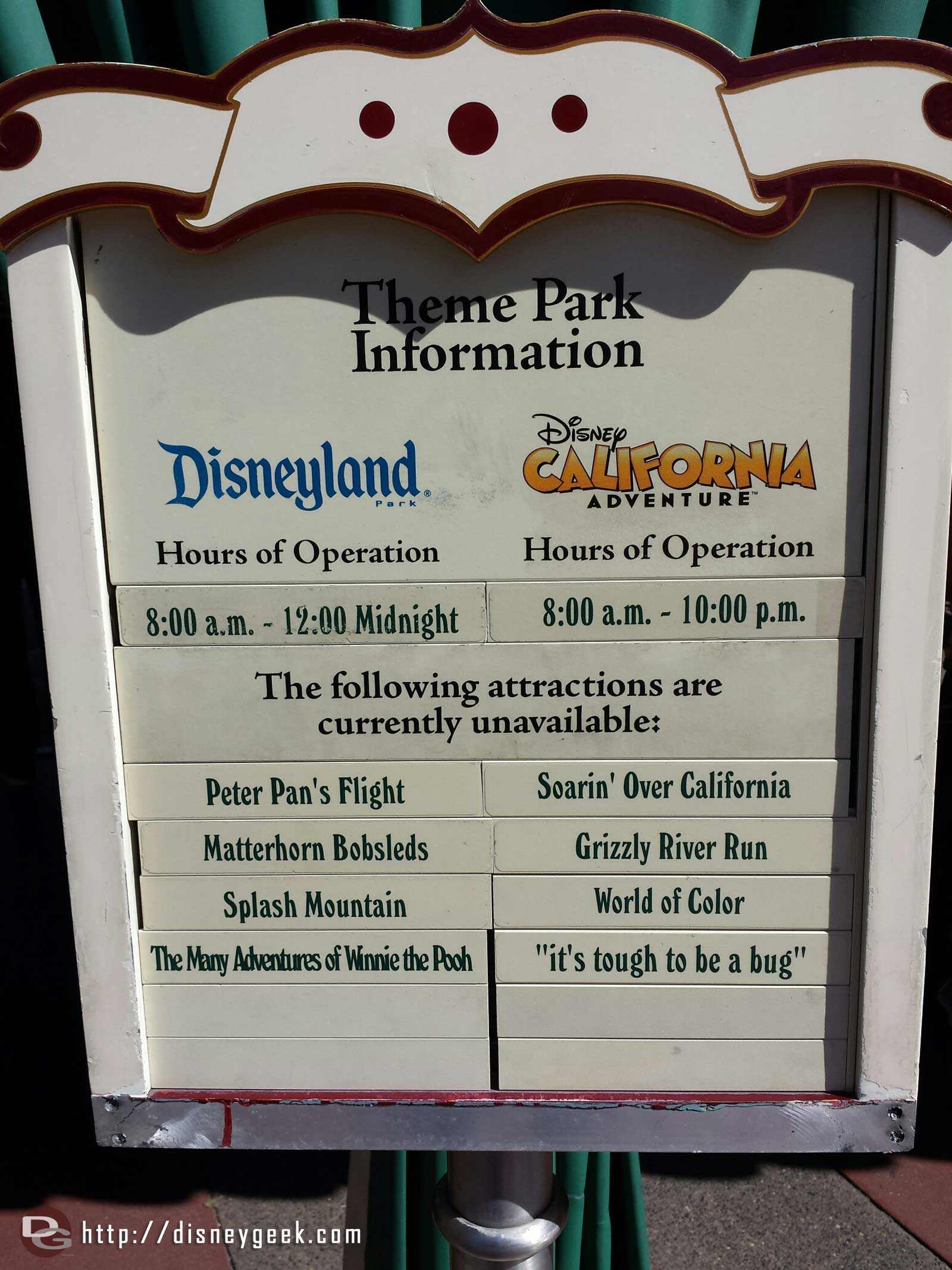 The posted closure list at #Disneyland Resort