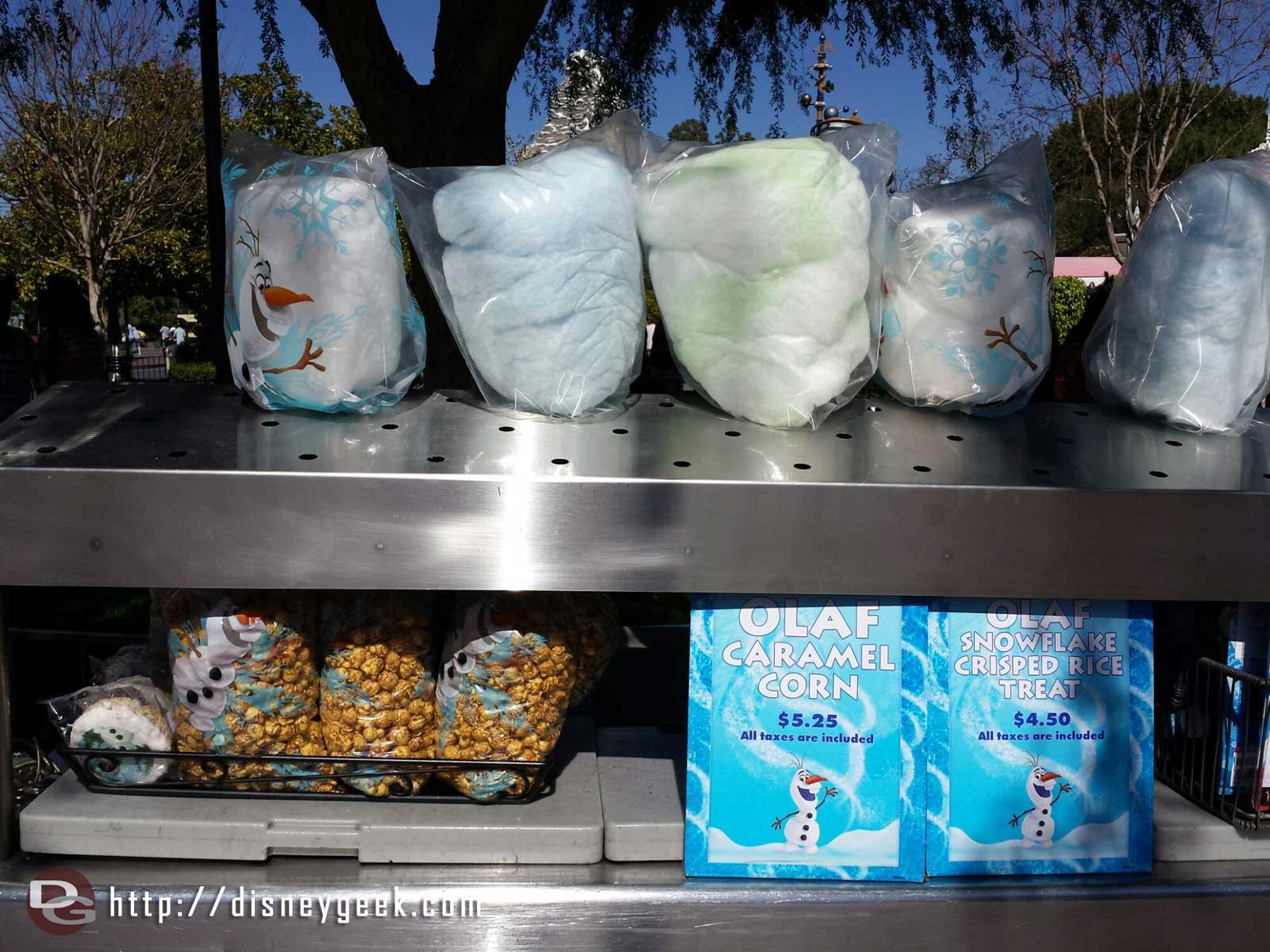 A cart selling an assortment of Olaf treats on Main Street USA #Disneyland #Frozen