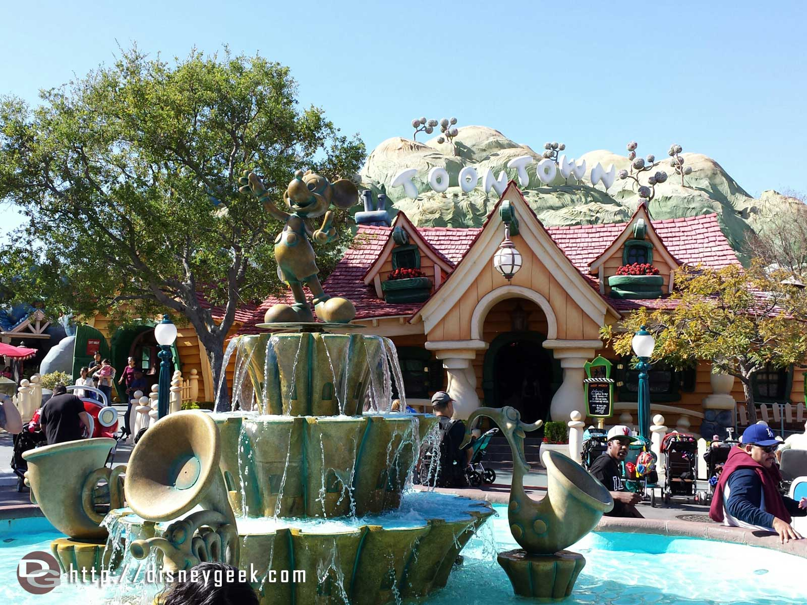 Mickey's fountain & house in Toontown #Disneyland