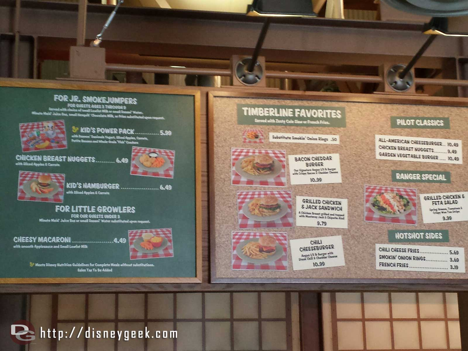 Smokejumpers Grill menu at Disney California Adventure
