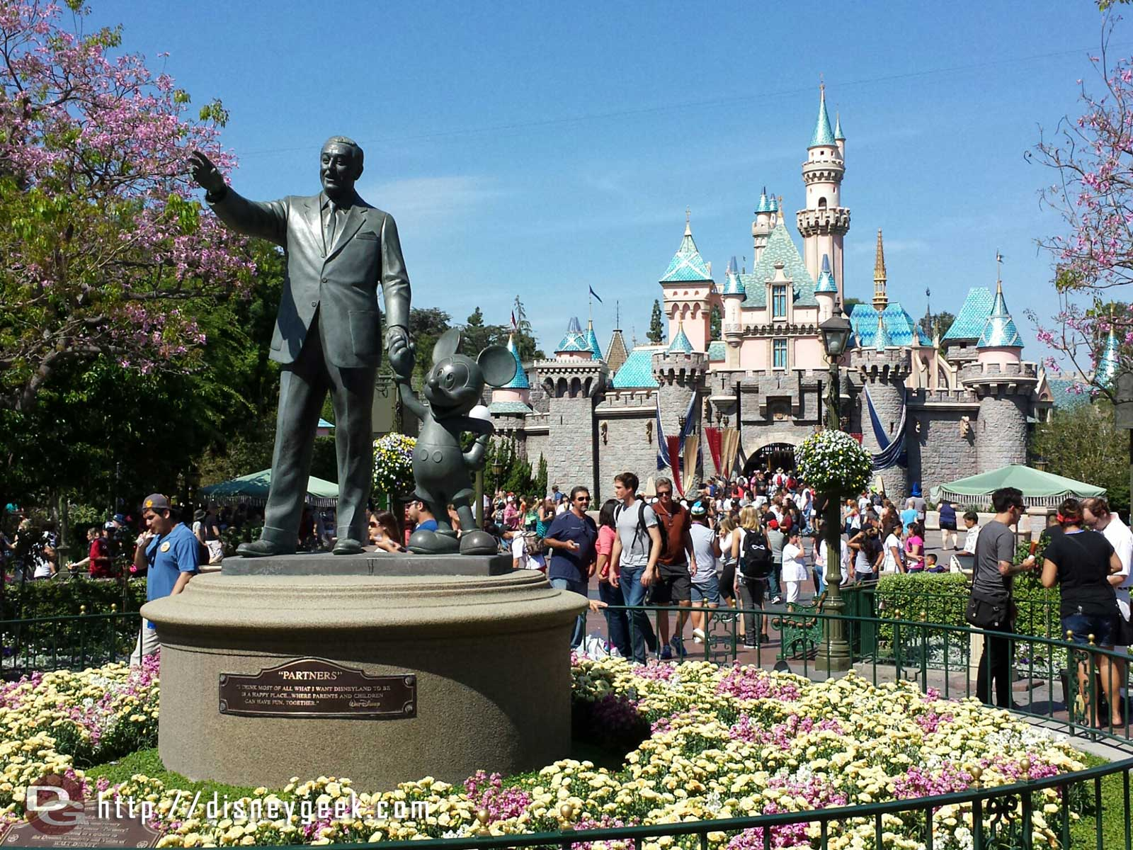 The Partners Statue in front of Sleeping Beauty Castle #Disneyland this spring afternoon