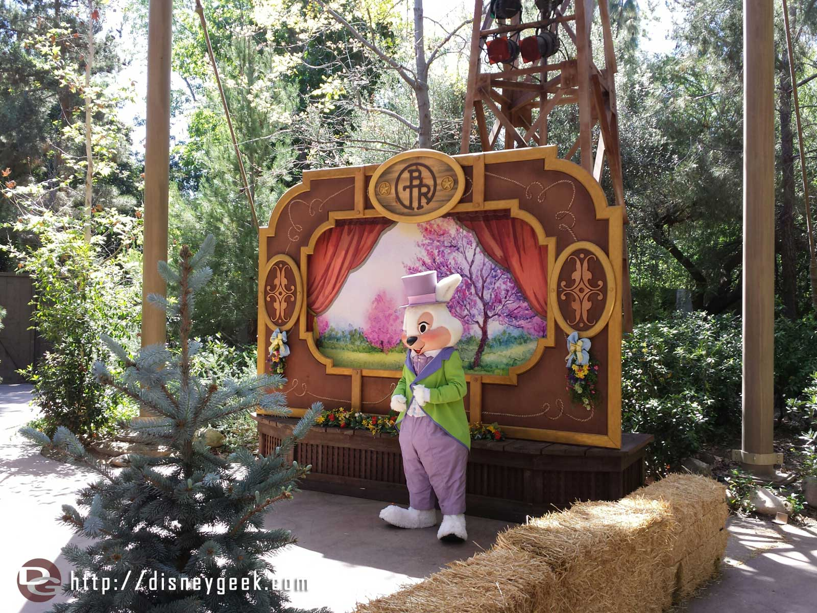 The Easter bunny greeting guests at the Springtime Roundup