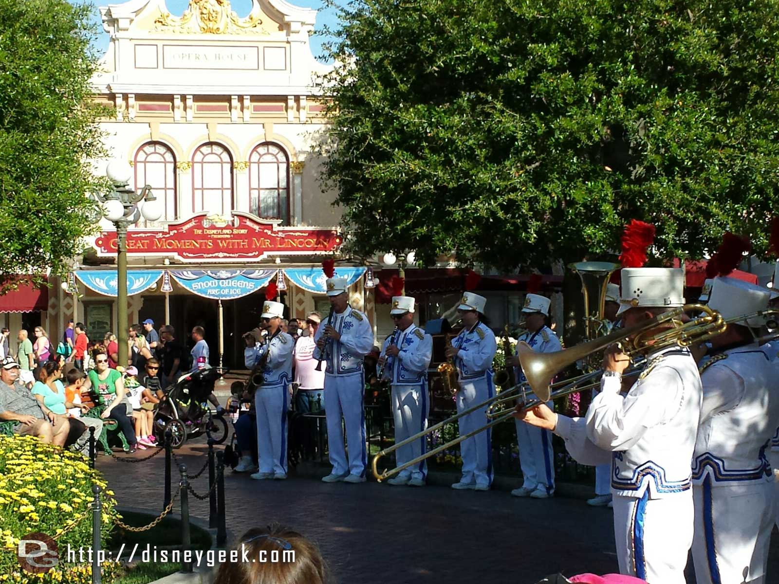 The #Disneyland Band in Town Square for the nightly Flag Retreat Ceremony
