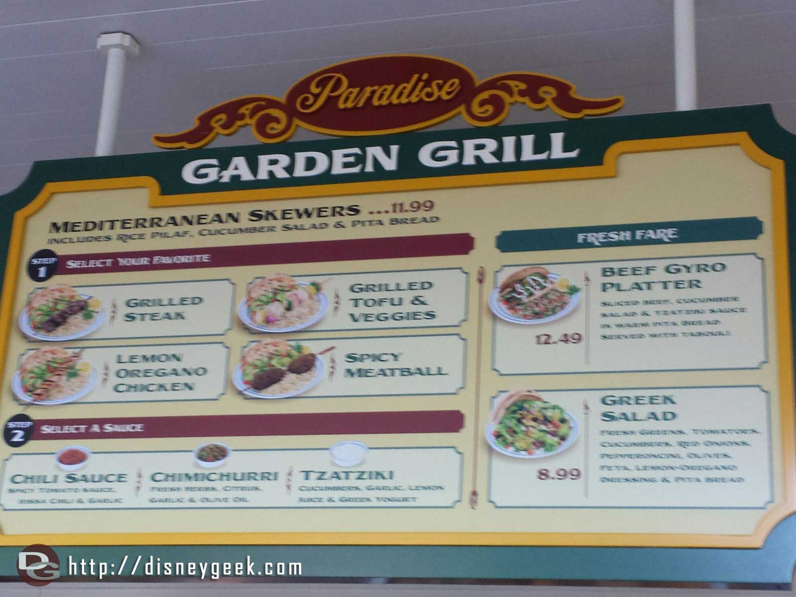 The Mediterranean menu has returned to the Paradise Garden Grill