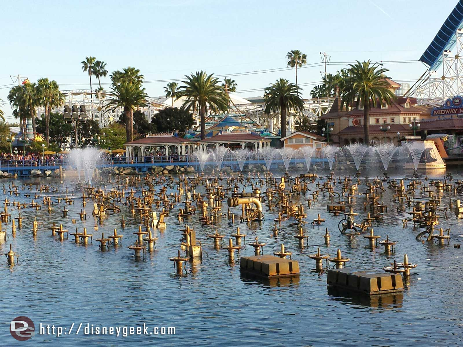 "World of Color fountains ""warming up"" for this evening's performance"