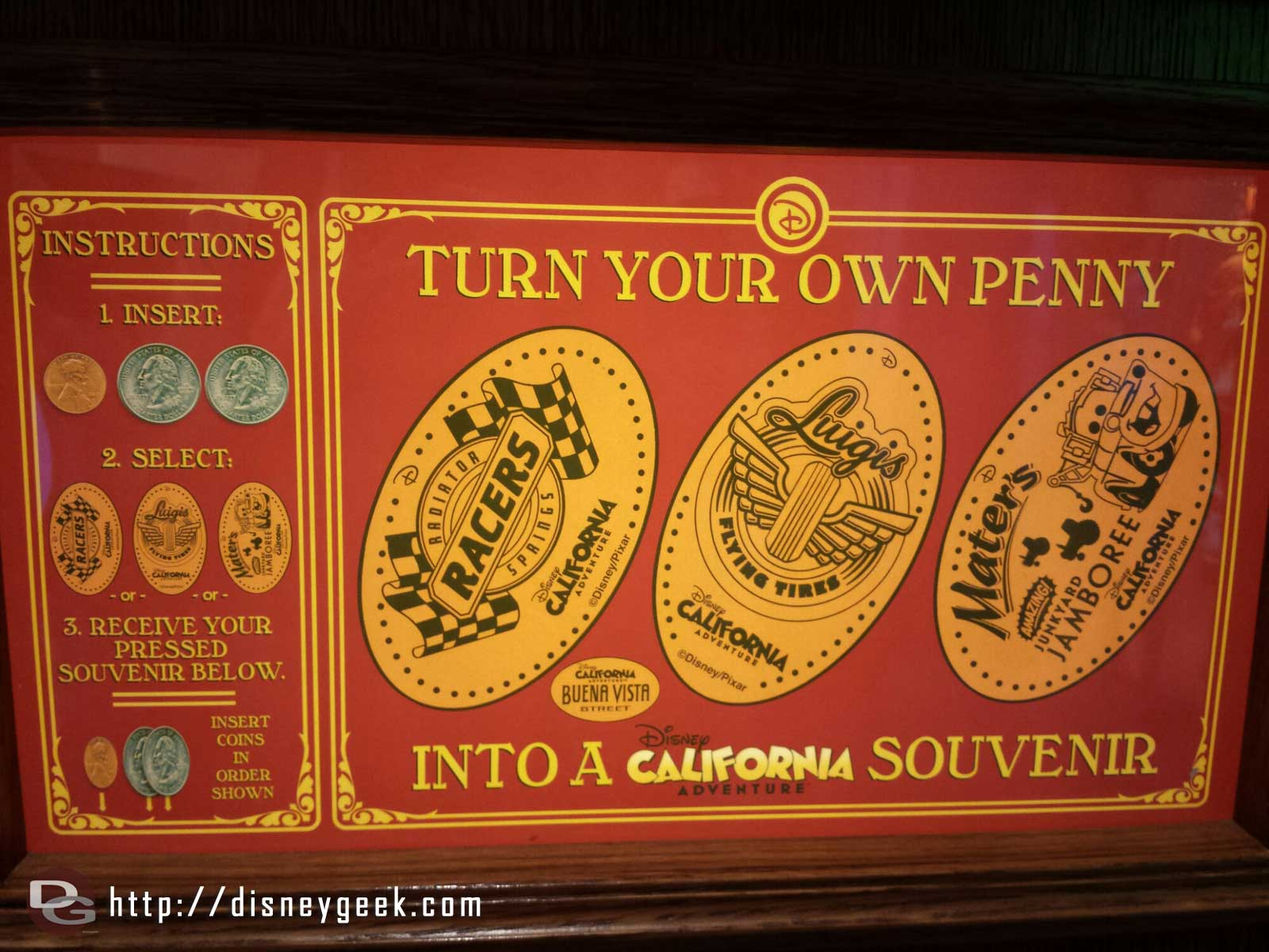You can still purchase a Flying Tires pressed penny on #BuenaVistaStreet