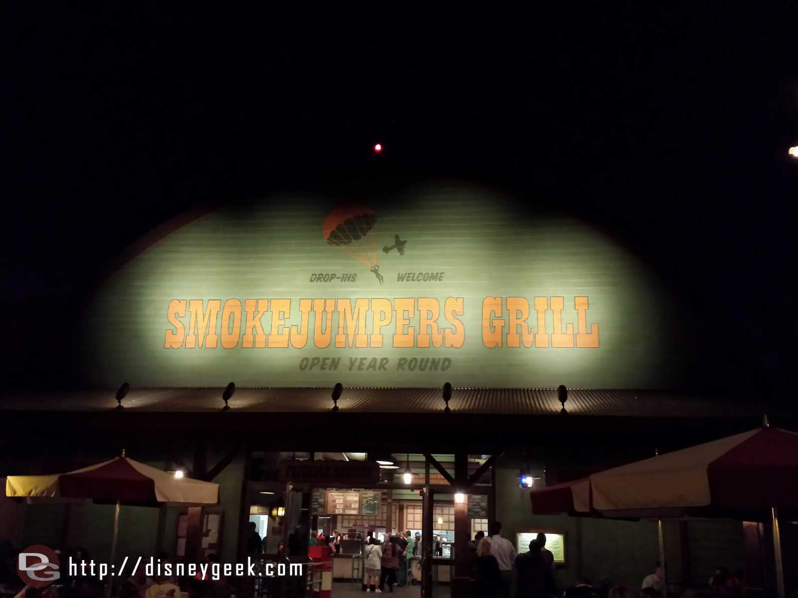 Smokejumpers Grill entrance after dark at Disney California Adventure