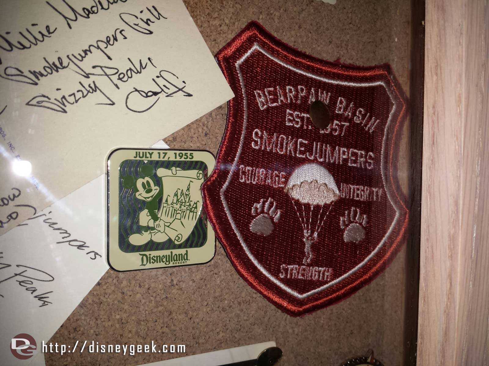 Bearpaw Basin Smokejumpers patch and #Disneyland pin on the wall in the #SmokejumpersGrill