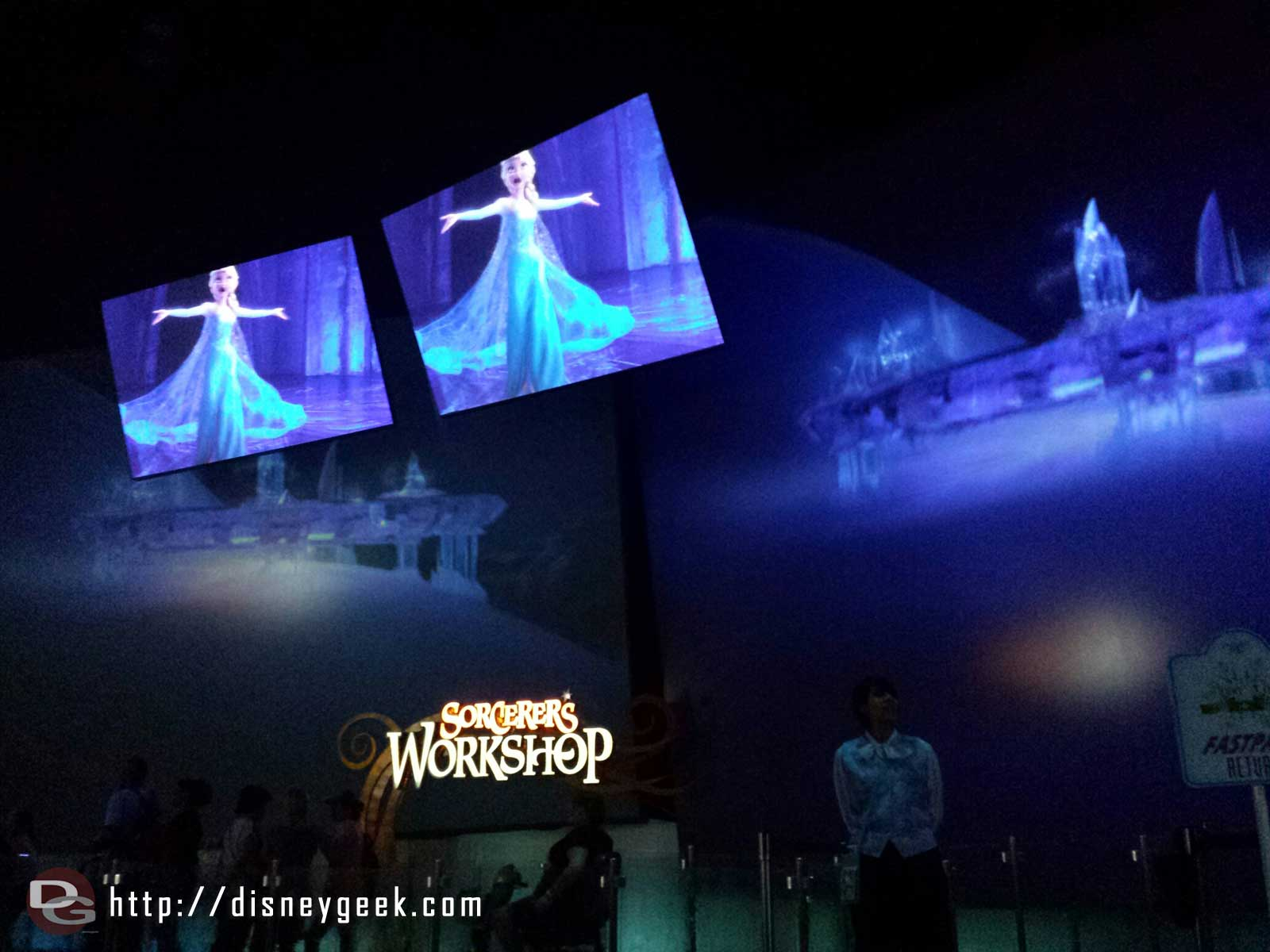 Let it Go segment playing in the Animation Building lobby