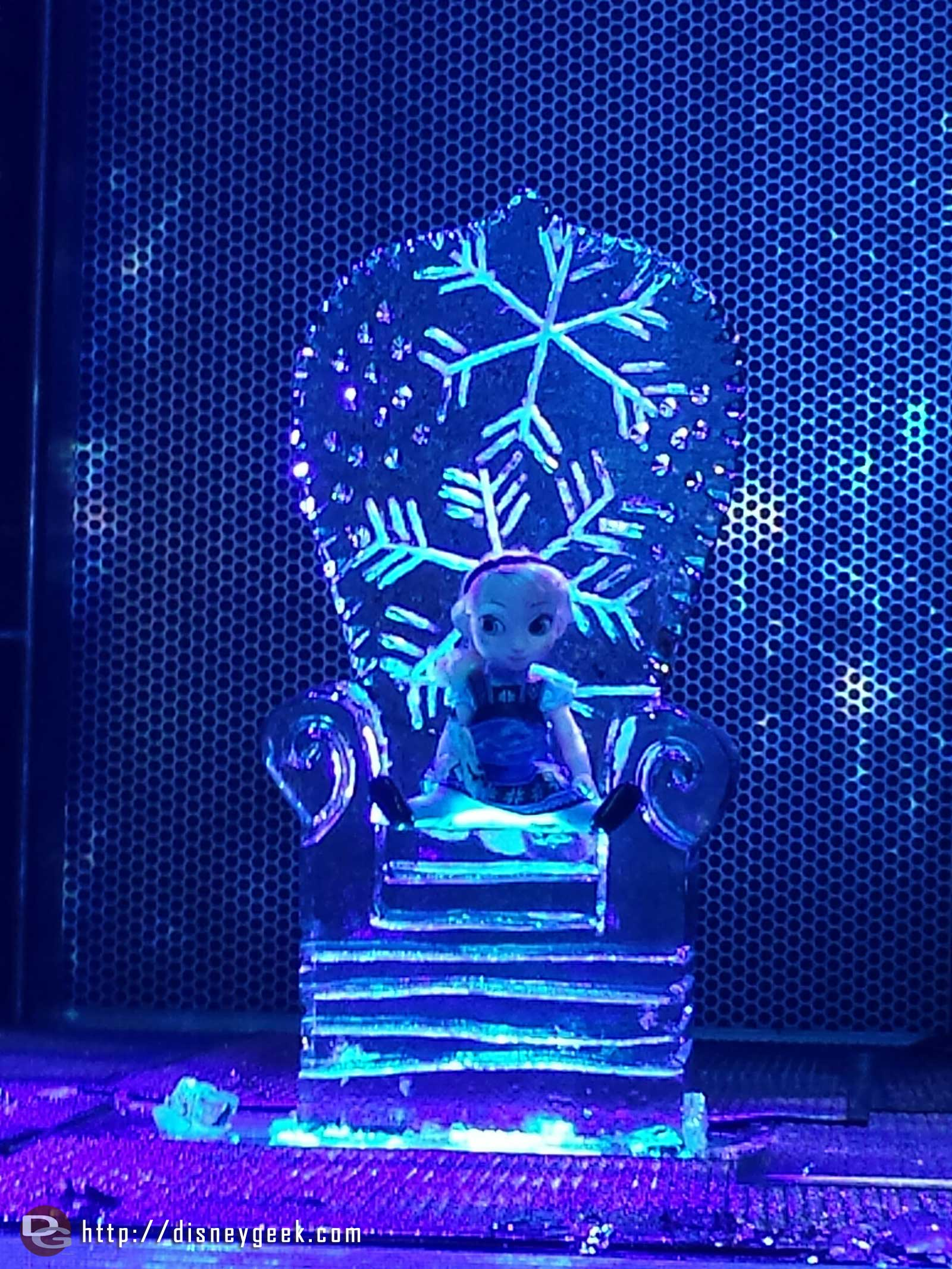 An ice chair carved this evening at #FreezetheNight #FrozenFun