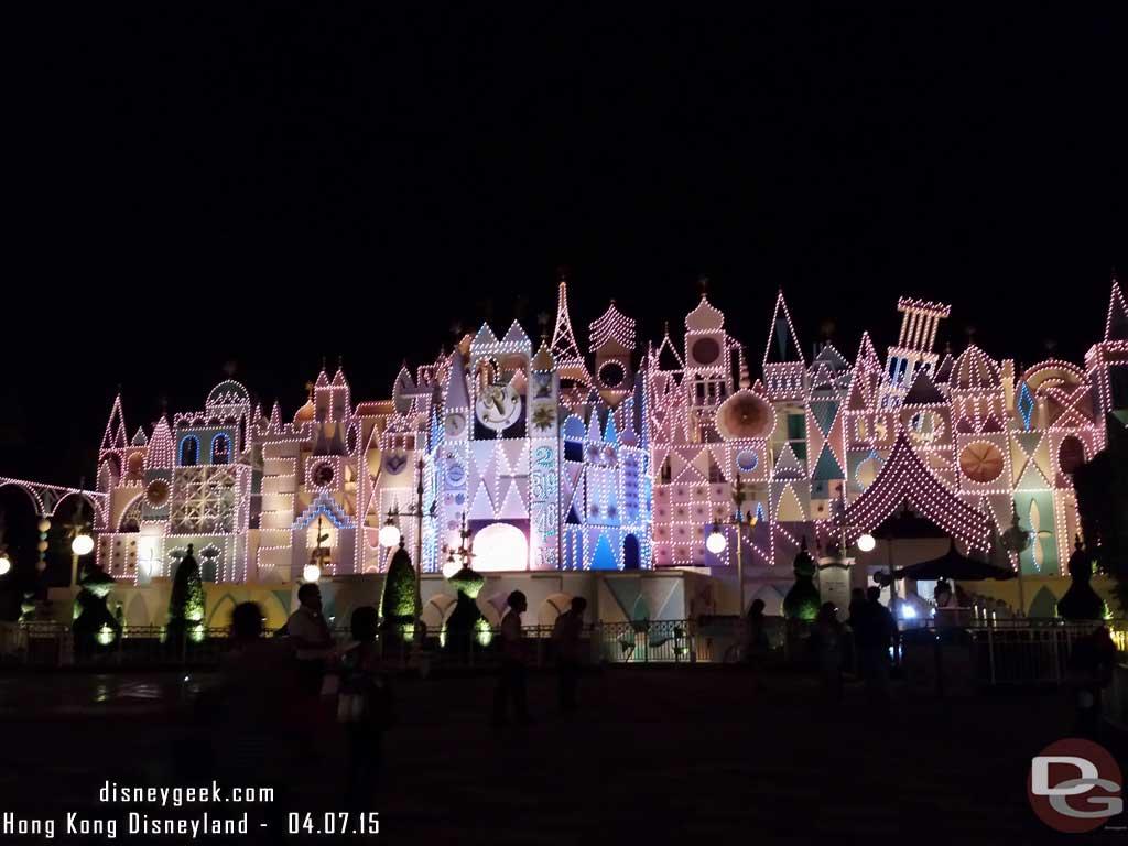 Hong Kong Disneyland - it's a Small World at exterior at night
