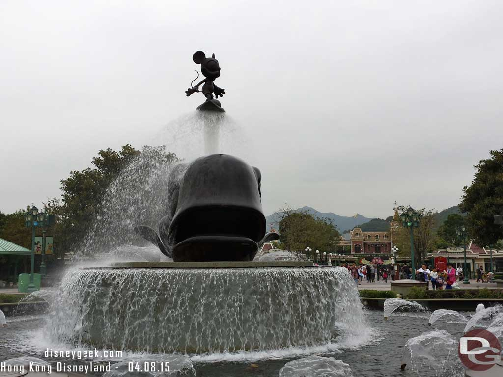 Hong Kong Disneyland - Fountain in the Promenade - Mickey surfing on a whale
