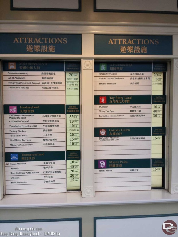 Hong Kong Disneyland - Main Street USA - Wait times around 5:30pm