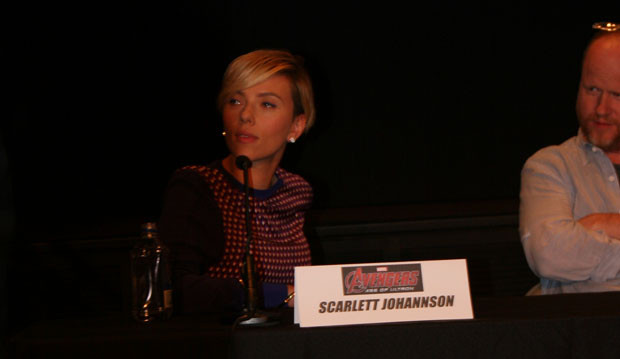 Scarlett Johansson at the avengers press conference