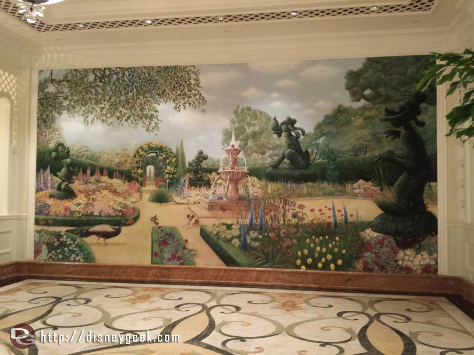 A mural outside the Enchanted Garden @ #HongKongDisneyland Hotel