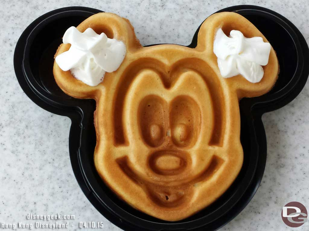 Mickey waffle for breakfast on Main Street USA at #HongKongDisneyland
