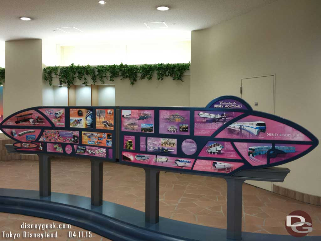 A sign with the history of Disney Monorails at the resort gateway station #tdr
