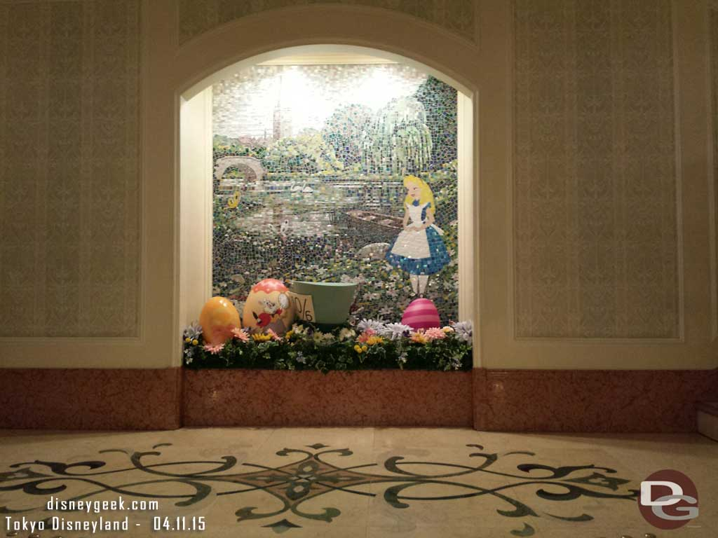 Alice in Wonderland artwork with an Easter display as you enter the #TokyoDisneylandHotel #TDR