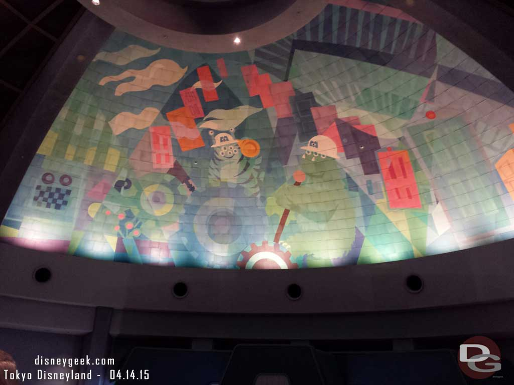 Monsters Inc queue overhead mural #TokyoDisneyland