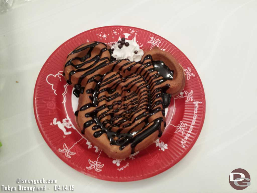 Mickey Waffle with chocolate from Great American Waffle Company #TokyoDisneyland