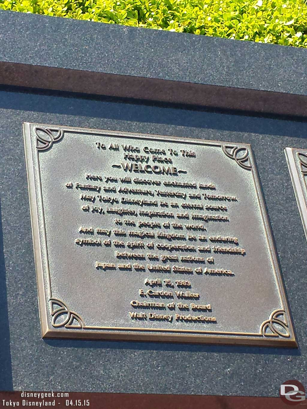 Dedication plaque for #TokyoDisneyland which turns 32 today