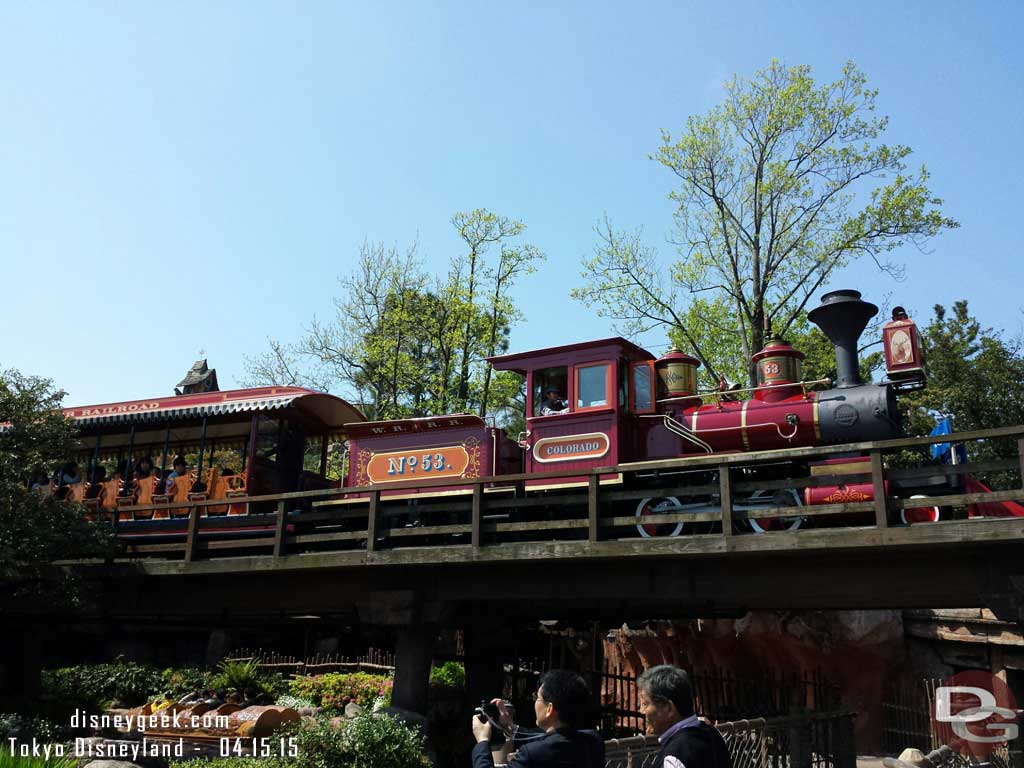 Western River Railroad train passing overhead #TokyoDisneyland