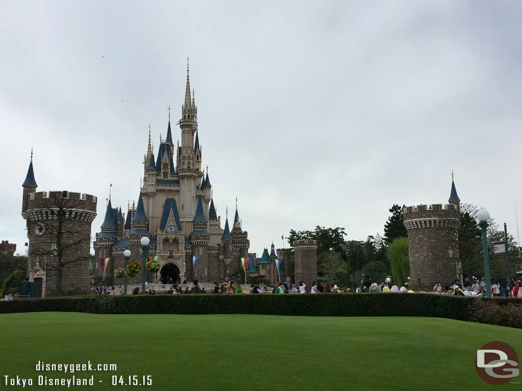 Clouding up, Cinderella Castle and its turrets from the hub #TokyoDisneyland