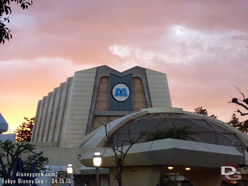 Monsters Inc as the sun was setting #TokyoDisneyland