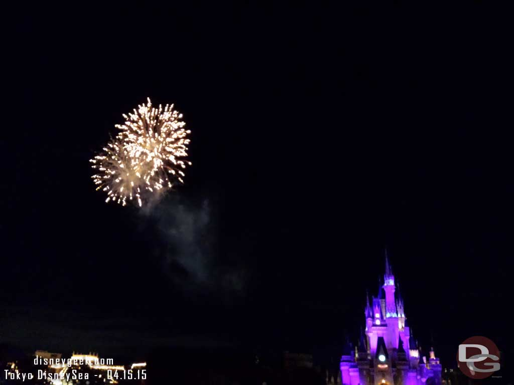Happiness on High is fired off to the left facing Cinderella Castle #TokyoDisneyland