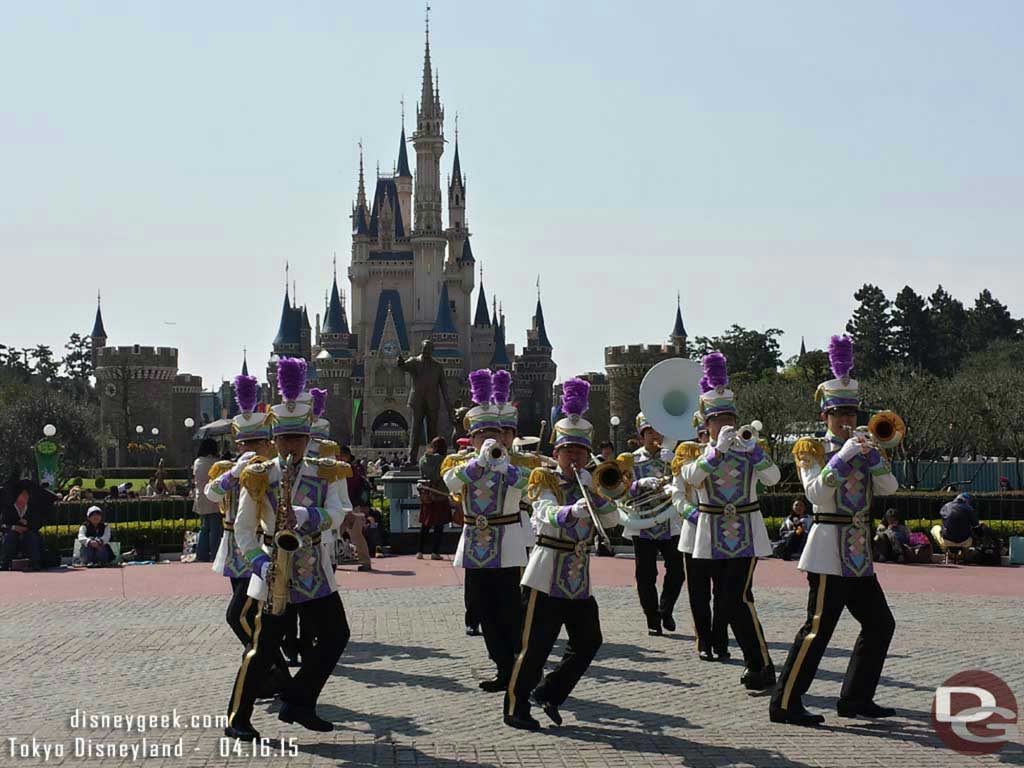 The #TokyoDisneyland Band performing with #Cinderella Castle as a backdrop