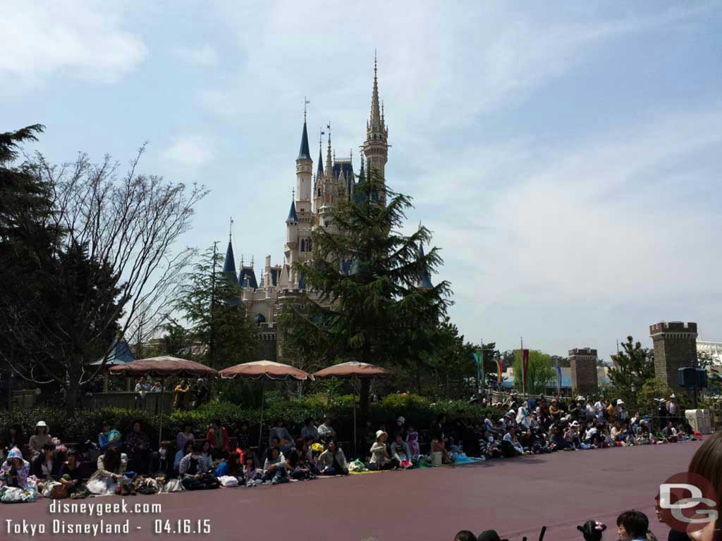 Waiting for the Easter Parade.  Cinderella Castle behind trees #TokyoDisneyland